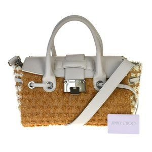 JIMMY CHOO 2Way Shoulder Hand Bag Nylon Leather Br